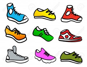 12987591-set-of-9-colorful-cartoon-style-shoes-Stock-Vector-cartoon-walking-shoe